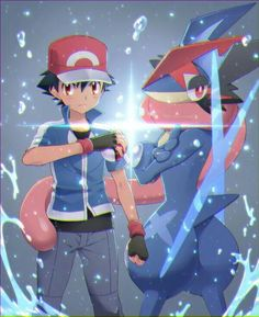 Beautiful ♡ Ash Ketchum and his soon to be Greninja ^.^ ♡ I give good credit to whoever made this