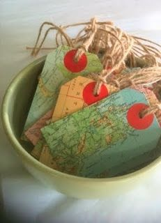Upcycled map tags.