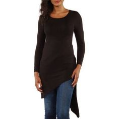 24/7 Comfort Apparel Women's Extra Long Diagonal Sweep Tunic, Size: XL, Black