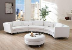 6 White Interior Design Ideas And Round Sofas – Sofa Design 2020 Living Room Sofa, Modern Curved Sofa, Furniture, Leather Sectional Sofas, White Leather Sofas, Living Room Sets Furniture, Sofa Design, Round Sofa, White Interior Design
