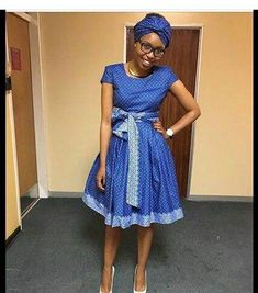 Ideas of Shweshwe Styling with Modern Outfits - Reny styles African Wedding Dress, African Print Dresses, African Print Fashion, Africa Fashion, African Fashion Dresses, African Dress, Sepedi Traditional Dresses, South African Traditional Dresses, African Attire