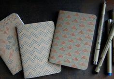Letterpress Notebooks, cross stitch, set of 3, PRE-ORDER $18