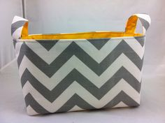 Reversible Fabric Bin ZigZag Ash Gray/White with by DivasIntuition, $20.00