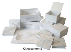 Conjunto para casamento: convite, lembrança, caixa para lavabo, caixa para madrinhas e padrinho...