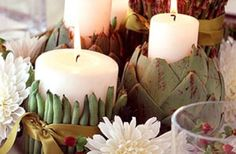 DIY Vegetable Wrapped Candles.