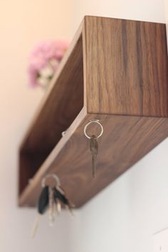 Modern Entryway Organizer with Magnetic Key Hooks in Choice of | Etsy Modern Entryway, Entryway Wall, Entryway Organization, Modern Shelving, Key Hooks, Portland Maine, Diy Wood Projects, Organizer, Wall Shelves