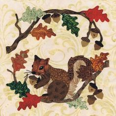 Blk # 4 Gathering Time - applique quilt pattern in Baltimore Autumn by Pearl P… Applique Quilt Patterns, Hand Applique, Wool Applique Quilts, Applique Ideas, Felt Patterns, Square Patterns, Fall Quilts, Appliqué Quilts, Halloween Quilts