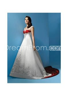 US $199.59 Elegant and Noble A-Line/Princess Square Chapel Train Embroidery Wedding Dress (WS0046)