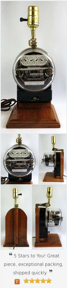 Vintage Westinghouse Electric Meter Table Lamp Re-purposed Steampunk Industrial