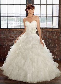 Ball-Gown Strapless Sweetheart Court Train Organza Wedding Dress With Ruffle Flower(s) Cascading Ruffles