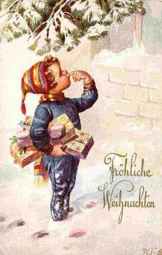 Merry Christmas -- by Wally Fialkowska (20th  Century, Austrian)