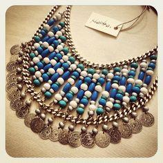 "The ""Mayan"" beaded necklace #klaidra #mayan #beaded #statement #handmade #necklace #bohemian #boho #greekdesigners #bohochic #gypsy #gypset #ss14 #jewelry #klaidrajewelry"