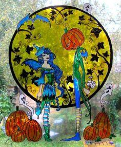 WICOART STICKER WINDOW COLOR CLING FAUX STAINED GLASS HALLOWEEN ROMANCE FAIRY