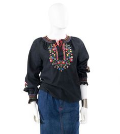 Vintage Peasant Blouse Black Embroidered by FiregypsyVintage