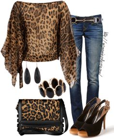 A fashion look from March 2013 featuring Te Amo blouses, True Religion jeans and Luxury Rebel pumps. Browse and shop related looks. Cheetah Print Shirts, Leopard Print Outfits, Animal Print Outfits, Leopard Fashion, Animal Print Fashion, Fashion Prints, Animal Prints, Mode Outfits, Chic Outfits