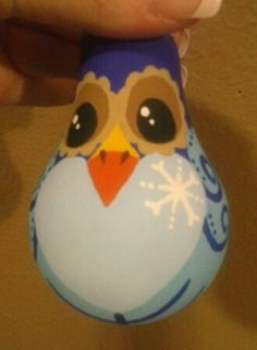 Owl painted light bulb Christmas ornament