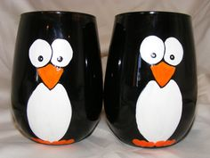 Hand painted stemless penguin wine glasses, one pair. $25.00, via Etsy.