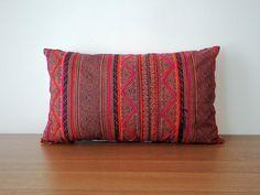 "12""x 20"" Boho Vintage Handwoven Pillow Cover, Hmong Batik Throw Pillow Case, Tribal Cotton Cushion Cover, Hill Tribe Ethnic Pillow Case"