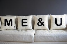 or better yet, Words with Friends? Then these cushions deserve a spot on your couch. The Bespoke Eco Recycled Felt Cushions feature His And Hers Bedding, Cute Pillows, Bed Pillows, Throw Cushions, Decor Pillows, Sofa Throw, Pillow Shams, Decorative Pillows, Silhouette Cameo