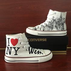 Unisex Hand Painted Shoes Converse All Star Custom I Love New York City Sketch Converse Design, Cute Converse, Converse Sneakers, Converse All Star, All Stars, Shoe City, Hand Painted Shoes, Shoe Show, Dream Shoes