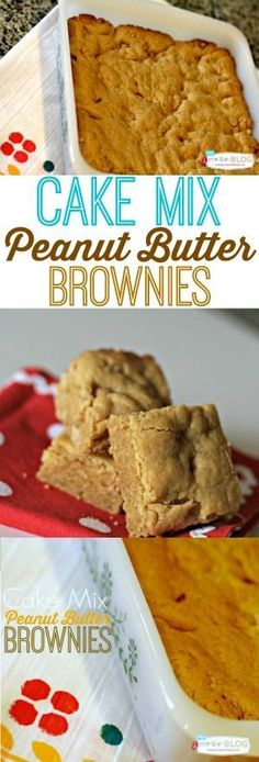 Cake Mix Peanut Butter Brownies This recipe is so easy! Make more than just cake with a cake mix. Brownies Recipe No Butter, Cake Mix Brownies, Peanut Butter Brownies, Cake Mix Cookies, Brownie Cake, Peanut Cake, Sandwich Cookies, Shortbread Cookies, Cake Mix Bars