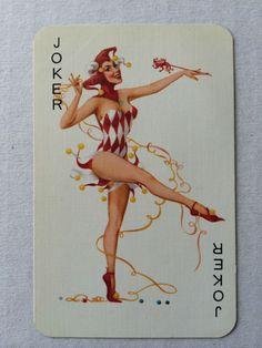 Vintage Swap / Playing Card - Lovely Pin Up Lady JOKER - Gorgeous ! GC