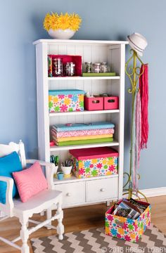 We're ready for spring! Bright colors and fun patterns make organized shelves a beautiful accent to any room.