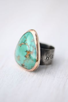 Ring - Nevada Fox Turquoise - Sterling Silver - Mixed Metal - Blue Skies & Happiness