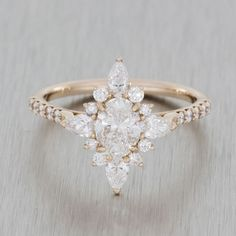 Rose gold vintage ballerina engagement ring//