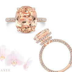 Oval Morganite Engagement Ring on Rose Gold with a Double Invisible Halo