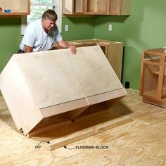 Use 2x2s to Secure Cabinets to the Floor - Install Cabinets Like a Pro!: http://www.familyhandyman.com/kitchen/diy-kitchen-cabinets/how-to-install-cabinets#9