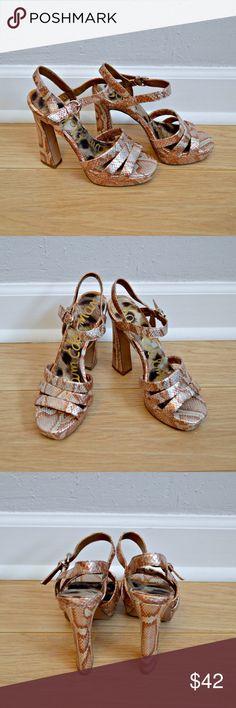 "Sam Edelman ""Taryn"" Platform Sandals Platform strappy sandals by Sam Edelman. ""Taryn"" style in bronze snakeskin. Very little wear on soles. Worn only a couple of times indoors. In excellent condition!    Measurements   Size: 6 Heel Height: 5"" Platform: 1""    Materials   All man-made materials. Sam Edelman Shoes Sandals"