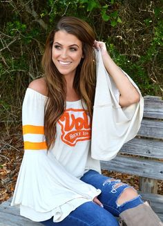 Judith March University Of Tennessee - Off The Shoulder Needle Punch Top
