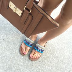 Obsessed with these Blue Jeweled Sandals