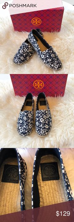 27669f24f52 Tory Burch navy blue espadrilles with a floral print pattern. Size Can send  in Tory Burch Box but not original for this shoe.
