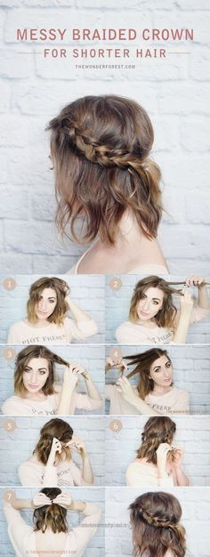 Splendid Lovely DIY Hairstyles | Messy Braided Crown for Shorter Hair | Step-By-Step Tutorial The post DIY Hairstyles | Messy Braided Crown for Shorter Hair | Step-By-Step Tutoria .. The post ..