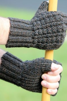 Sailor's Rib Fingerless Gloves: made with roughly 150 yards of worsted weight yarn and size US 5 & 7 needles