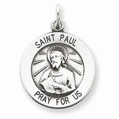 Sterling Silver Antiqued Saint Paul Medal