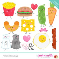 Perfect Pair V2 Cute Digital Clipart by JWIllustrations on Etsy