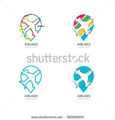 airplane silhouette and waypoint symbol. Set of vector flat and outline l. - -Flight airplane silhouette and waypoint symbol. Set of vector flat and outline l.