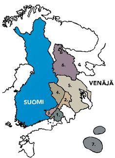 """On ainakin seitsemän eri """"Karjalaa"""", jotka sijoittuvat alueellisesti Karjala-luettelon alla olevan kartan mukaisesti: 1. Karjalan The The seven CareiKannas: Suomi luovutti NL:lle 1944, nyt osa Venäjää 2. Laatokan Karjala: Suomi luovutti NL:lle 1944, nyt osa Venäjää 3. Etelä-Karjala: osa Suomea 4. Pohjois-Karjala: osa Suomea 5. Aunuksen Karjala: osa Neuvostoliittoa ja nyt osa Venäjää 6. Vienan Karjala: osa Neuvostoliittoa ja nyt osa Venäjää 7. Tverin Karjala: osa Neuvostoliittoa ja nyt osa…"""