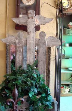 paint sticks, pallet fence, garden accessories, garden angels, fenc angel, angel art, christma, craft bazaar, garden fences