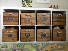toy storage Stained ac Moore crates with rope handles. For ikea shelves in boys playroom. Wooden Crates Toy Storage, Wood Crates, Crate Storage, Wooden Boxes, Wood Storage, Storage Containers, Creative Toy Storage, Kid Toy Storage, Storage Ideas
