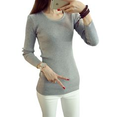 sweaters women Spring fall winter new pull long Slim package hip jumper wild bottoming sweater female vestidos LXJ027