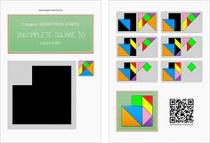 Tangram worksheet 202 : Incomplete square 10 - This worksheet is available for free download at http://www.tangram-channel.com