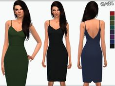 The Sims Resource: Cami Strap Slinky Dress by OranosTR • Sims 4 Downloads