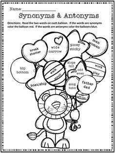 Apple Antonyms or Synonyms- Read the pairs of words and