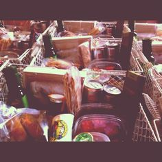Picnic baskets in a row.