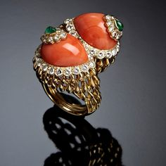 Diamonds, emeralds and coral ring ELISABETH TAYLOR BYPASS  David Webb