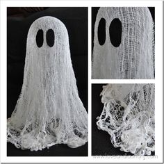 Floating ghost using cheesecloth, cornstarch, water, balloon as a mold - then pop after form is set, and black felt for the eyes.